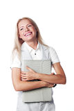 Business woman with a briefcase Royalty Free Stock Images