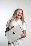 Business woman with a briefcase Stock Photos