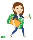 Business woman with briefcase full of money. Royalty Free Stock Photos