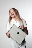 Business woman with a briefcase Stock Photography