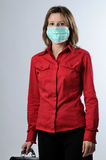 Business woman with briefcase and mask protection Royalty Free Stock Image