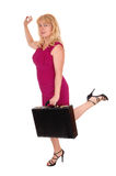 Business woman with briefcase. Royalty Free Stock Photo