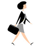 Business Woman With Briefcase. Business woman walking while carrying a black briefcase Royalty Free Illustration