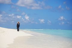 Business woman on the ocean coast Stock Image