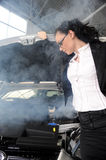 Business woman and broken car Royalty Free Stock Photography