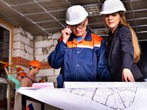 Business woman in builder helmet . Royalty Free Stock Image