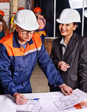 Business woman in builder helmet . Stock Photography