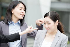 Business woman bullying Stock Photo
