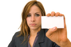 Business woman with business card Stock Photography