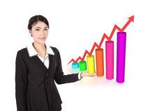 Business woman with business graph Stock Photo