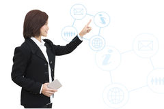 Business woman with business information graphic. S Stock Photos