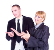Business woman and business man clapping hands Stock Photography