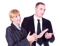 Business woman and business man clapping hands Royalty Free Stock Images