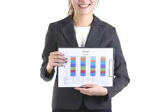 Business women in business suit holding black folder with paperwork on pure white background Stock Photos
