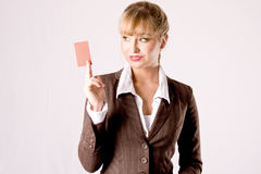Business woman with businesscard Stock Photo