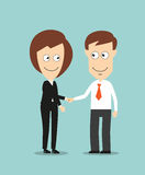 Business woman and businessman shaking hands. Cheerful smiling business woman and businessman shaking hands for partnership or cooperation concept design Royalty Free Stock Images