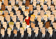 Business Woman Among Businessmen Stock Images