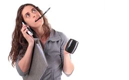 Business woman busy Royalty Free Stock Photos