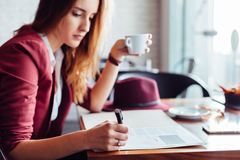 Business woman in a cafe Stock Photo