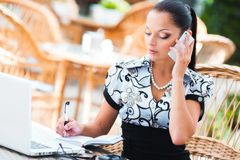 Business woman in cafe Royalty Free Stock Photography