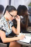 Business woman in cafe Royalty Free Stock Image