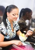 Business woman in cafe Stock Photography