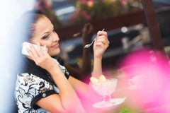 Business woman in cafe Royalty Free Stock Photo