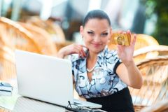 Business woman in cafe Royalty Free Stock Photos