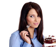 Business woman with cake Royalty Free Stock Photography