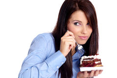 Business woman with cake Stock Photo