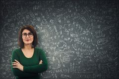 Business woman calculate royalty free stock photography