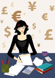 Business woman calculating bill in office. Business woman calculating bill document in office, maybe she is an accountant, with dollar, euro, RMB, pounds as Stock Images