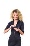Business woman with calculator Stock Photo