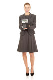 Business woman with a calculator. Royalty Free Stock Photo
