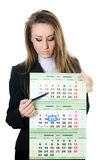 The business woman with a calendar Royalty Free Stock Images