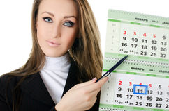 The business woman with a calendar Stock Photography