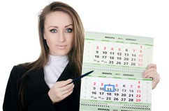 Business woman with a calendar Stock Photography