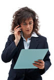 Business woman call. Business woman making call with mobile phone stock photography
