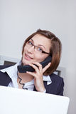 Business woman calling customer Stock Photo