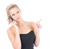 Business woman calling by mobile phone Royalty Free Stock Images