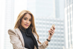 Business woman calling Stock Photo
