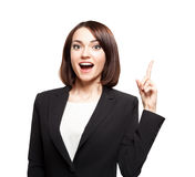 Business woman came to the brilliant idea Stock Photo