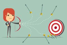 Business woman can not hit the target. Cartoon business woman can not hit target with a bow and arrow, vector illustration Stock Images