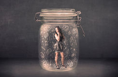 Business woman captured in glass jar with hand drawn media icons Stock Photography