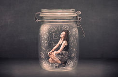 Business woman captured in glass jar with hand drawn media icons. Concept on background Stock Image