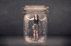 Business woman captured in glass jar with hand drawn media icons. Concept on background Royalty Free Stock Photos