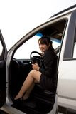 Business woman in the car Royalty Free Stock Image