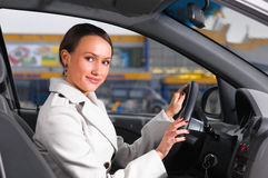 Business woman in a car Stock Image