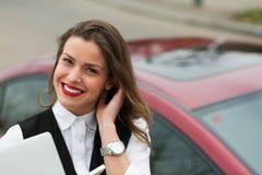 Business woman with car keys Stock Photos