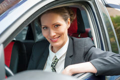 Business woman in a car Stock Photo